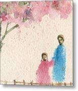 Cherry Blossom Tree Over The Bridge Metal Print