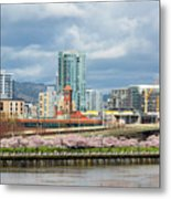 Cherry Blossom Trees At Portland Waterfront Park Metal Print