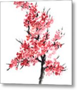 Cherry Blossom Watercolor Poster Metal Print