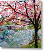 Cherry Blossoms And Bridge 3 201730 Metal Print
