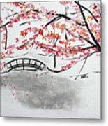 Cherry Blossoms And Bridge II Meadowlark Botanic Gardens 201729  Metal Print