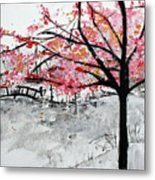 Cherry Blossoms And Bridge Meadowlark Botanical Gardens 201728 Metal Print