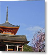 Cherry Blossoms And Kiyomizu-dera Metal Print