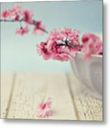 Cherry Blossoms In Bowl Metal Print