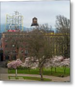 Cherry Blossoms Trees In Portland Old Town Metal Print