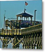 Cherry Grove Pier - Closeup End Of Pier Metal Print