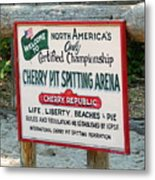 Cherry Pit Spitting Metal Print
