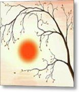 Cherry Tree In Fall Metal Print