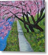 Cherry Trees- Pink Blossoms- Landscape Painting Metal Print