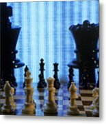 Chess Board With King And Queen Chess Pieces In Front Of Tv Scre Metal Print