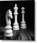 Chess Pieces On Old Wood Metal Print