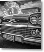 Chevrolet Biscayne 1958 In Black And White Metal Print