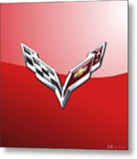 Chevrolet Corvette - 3d Badge On Red Metal Print