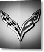 Chevrolet Corvette Emblem -0406bw Metal Print