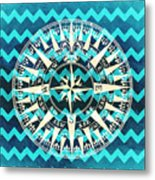 Chevron Print Compass Blue Metal Print