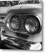 Chevy Corvair Headights And Bumper Black And White Metal Print