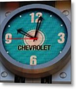 Chevy Neon Clock Metal Print