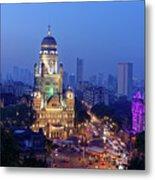 Chhatrapati Shivaji Terminus V.t. And Municipality Head Office In Mumbai. Metal Print