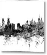 Chicago And New York City Skylines Mashup Metal Print