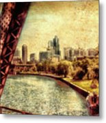 Chicago Approaching The City In June Textured Metal Print