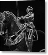 Chicago Art Institute Armored Knight And Horse Bw Pa 02 Metal Print