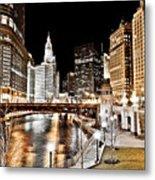 Chicago At Night At Wabash Avenue Bridge Metal Print