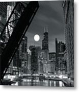 Chicago Black And White Nights Metal Print