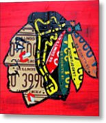 Chicago Blackhawks Hockey Team Vintage Logo Made From Old Recycled Illinois License Plates Red Metal Print