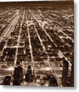 Chicago City Lights West B W Metal Print