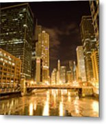 Chicago Downtown City  Night Photography Metal Print