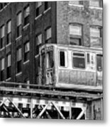 Chicago El And Warehouse Black And White Metal Print