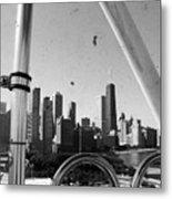 Chicago Ferris Wheel Skyline Metal Print