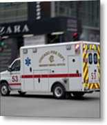 Chicago Fire Department Ems Ambulance 53 Metal Print
