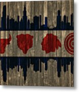 Chicago Flag Barn Door Metal Print