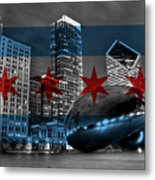 Chicago Flag Bean Metal Print