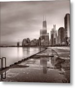Chicago Foggy Lakefront Bw Metal Print