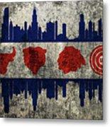 Chicago Grunge Flag Metal Print