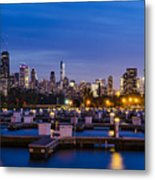Chicago Harbor View At Night Metal Print