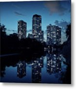 Chicago High-rise Buildings By The Lincoln Park Pond At Night Metal Print