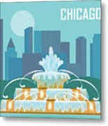 Chicago Illinois Horizontal Skyline - Buckingham Fountain Metal Print