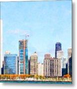 Chicago Illinois Skyline Painterly Triptych Plate Three Of Three 20180516 Metal Print