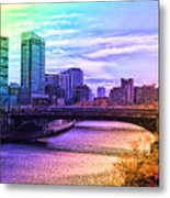 Chicago In November Chicago River South Branch Pa Rainbow 02 Metal Print