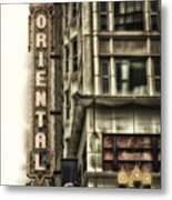 Chicago In November Oriental Theater Signage Vertical Metal Print