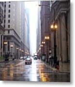 Chicago In The Rain Metal Print