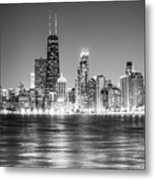 Chicago Lakefront Skyline Black And White Photo Metal Print