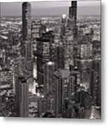 Chicago Loop Sundown B And W Metal Print by Steve Gadomski