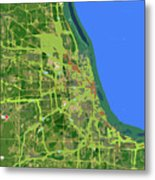Chicago Map, Old Map, Abstract, Abstract Art, Blue, Blue And Purple Art Metal Print