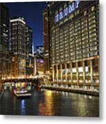 Chicago Night Lights Metal Print
