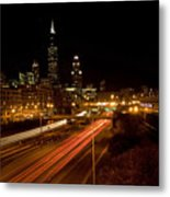 Chicago Night Skyline Metal Print