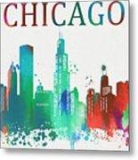 Chicago Paint Splatter Metal Print